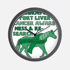 Unicorns Support Liver Cancer Awareness Wall Clock