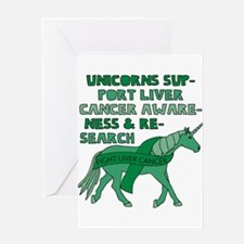 Unicorns Support Liver Cancer Aware Greeting Cards