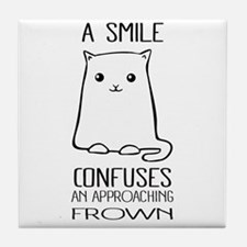 Cute Cat meme Tile Coaster