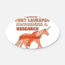 Unicorns Support Leukemia Awarenes Oval Car Magnet