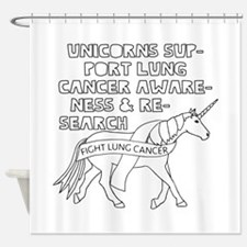 Unicorns Support Lung Cancer Awaren Shower Curtain