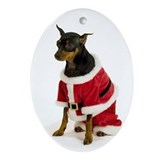 Dog lover mini doberman Oval Ornaments