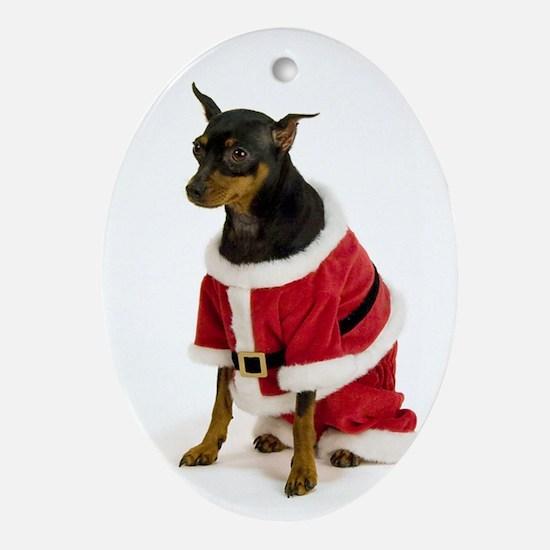 Miniature Pinscher Oval Christmas Ornament