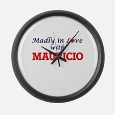 Madly in love with Mauricio Large Wall Clock
