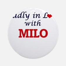 Madly in love with Milo Round Ornament