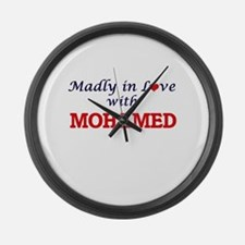 Madly in love with Mohamed Large Wall Clock