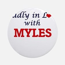Madly in love with Myles Round Ornament
