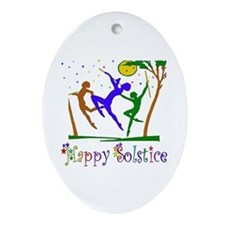 Winter Solstice Dancers Oval Ornament