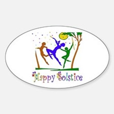 Winter Solstice Dancers Oval Decal