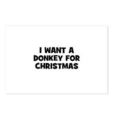 I want a Donkey for Christmas Postcards (Package o