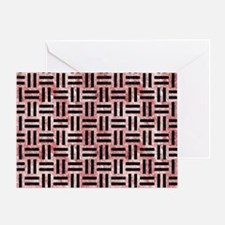 WOVEN1 BLACK MARBLE & RED & WHITE MA Greeting Card