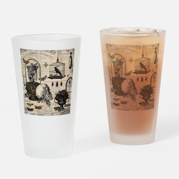 Modern Vintage Halloween Garden Drinking Glass