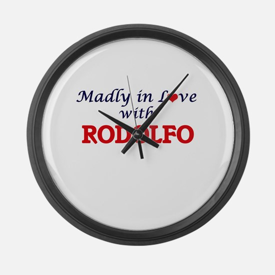 Madly in love with Rodolfo Large Wall Clock