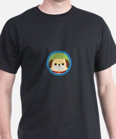 Cute puppy dog with blue circle T-Shirt