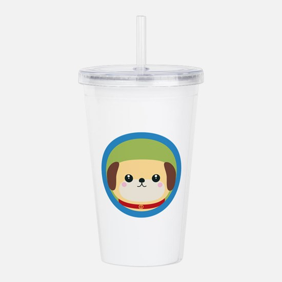 Cute puppy dog with bl Acrylic Double-wall Tumbler