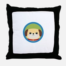 Cute puppy dog with blue circle Throw Pillow