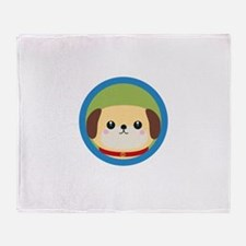 Cute puppy dog with blue circle Throw Blanket