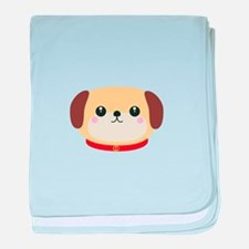 Cute puppy Dog with red collar baby blanket