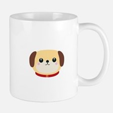 Cute puppy Dog with red collar Mugs