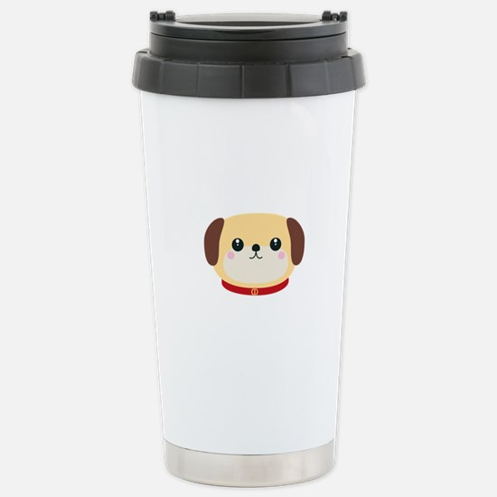 Cute puppy Dog with red Stainless Steel Travel Mug