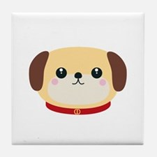 Cute puppy Dog with red collar Tile Coaster
