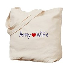 Army Wife with red heart Tote Bag