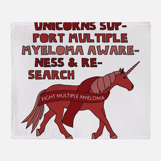 Unicorns Support Multiple Myeloma Aw Throw Blanket