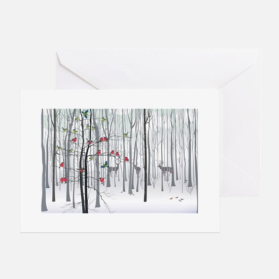 Christmas tree in the fo Greeting Cards