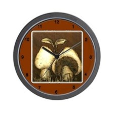 Mushrooms in Brown Wall Clock