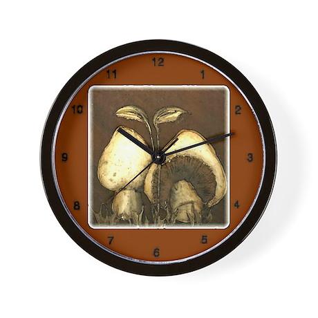 Mushrooms in Brown Wall Clock