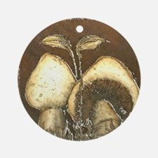 Mushrooms in Brown Ornament (Round)