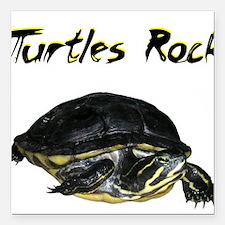 "turtles_rock.jpg Square Car Magnet 3"" x 3"""
