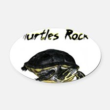 turtles_rock.jpg Oval Car Magnet