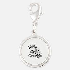 Bike Georgia Silver Round Charm