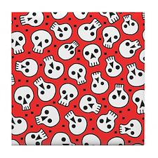 Skulls On Red Tile Coaster