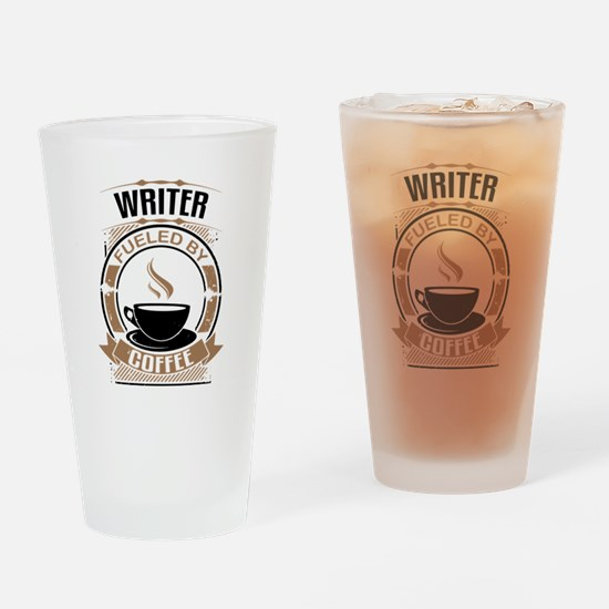 Writer Fueled By Coffee Drinking Glass