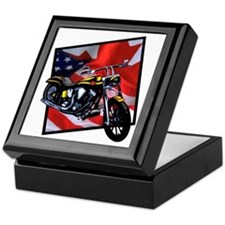American Canadian Flag Chopper Keepsake Box