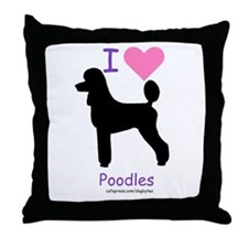 """I love Poodles"" Throw Pillow"