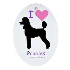 """I love Poodles"" Oval Ornament"