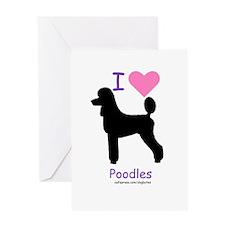 """I love Poodles"" Greeting Card"