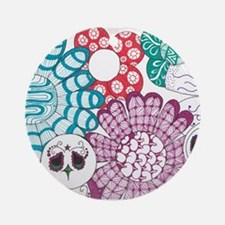 Zentangle Flower and Birds Round Ornament
