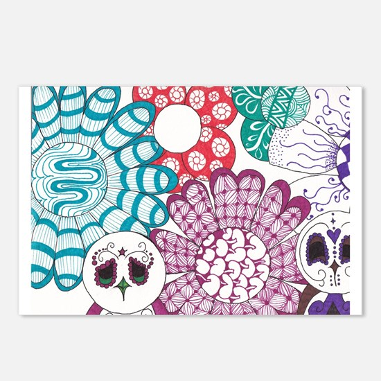 Zentangle Flower and Birds Postcards (Package of 8