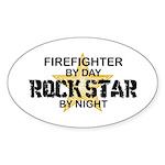 Firefighter RockStar Oval Sticker