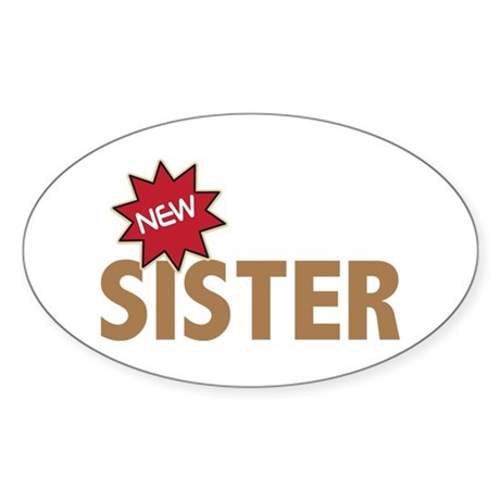New Sister Sis Big Little Family Oval Sticker