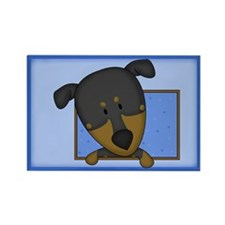 Cartoon Doberman Pinscher Rectangle Magnet