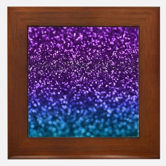 Purple Teal Faux Glitter Ombre Framed Tile