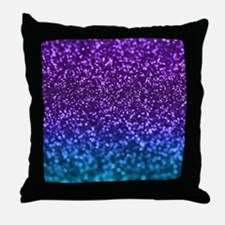Purple Teal Faux Glitter Ombre Throw Pillow