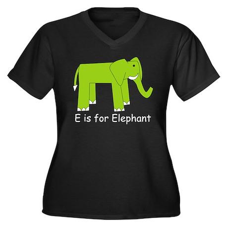 E is for Elephant Women's Plus Size V-Neck Dark T-