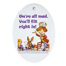 MAD HATTER RULES Oval Ornament