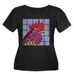 Psycho Rooster Women's Plus Size Scoop Neck Dark T